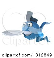 3d Blue Fish Facing Left And Holding A Plate