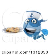 3d Happy Blue Sailor Fish Holding A Plate Of French Fries 2