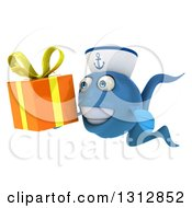 3d Happy Blue Sailor Fish Holding A Gift 2