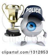 Clipart Of A 3d Blue Police Eyeball Character Holding A Trophy Royalty Free Illustration