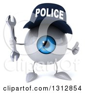 Clipart Of A 3d Blue Police Eyeball Character Giving A Thumb Up And Holding A Wrench Royalty Free Illustration