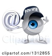 Clipart Of A 3d Blue Police Eyeball Character Holding Up A Finger And An Email Arobase At Symbol Royalty Free Illustration