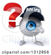 Clipart Of A 3d Blue Police Eyeball Character Holding And Pointing To A Question Mark Royalty Free Illustration