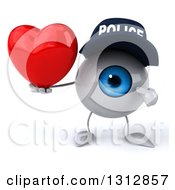 Clipart Of A 3d Blue Police Eyeball Character Holding And Pointing To A Heart Royalty Free Illustration