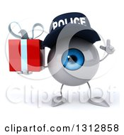 Clipart Of A 3d Blue Police Eyeball Character Holding Up A Finger And Holding A Gift Royalty Free Illustration