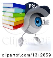 Clipart Of A 3d Blue Police Eyeball Character Facing Slightly Right Jumping And Holding A Stack Of Books Royalty Free Illustration