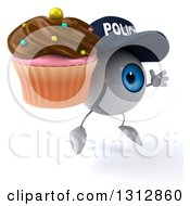 Clipart Of A 3d Blue Police Eyeball Character Facing Slightly Right Jumping And Holding A Chocolate Frosted Cupcake Royalty Free Illustration