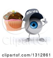 Clipart Of A 3d Blue Police Eyeball Character Holding Up A Finger And A Chocolate Frosted Cupcake Royalty Free Illustration