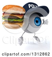 Clipart Of A 3d Blue Police Eyeball Character Facing Slightly Right Jumping And Double Cheeseburger Royalty Free Illustration