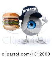 Clipart Of A 3d Blue Police Eyeball Character Holding Up A Finger And A Double Cheeseburger Royalty Free Illustration