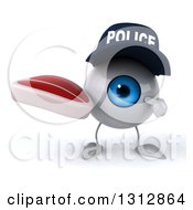 Clipart Of A 3d Blue Police Eyeball Character Holding And Pointing To A Beef Steak Royalty Free Illustration