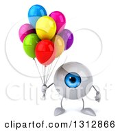 Clipart Of A 3d Blue Eyeball Character Holding Colorful Party Balloons Royalty Free Illustration