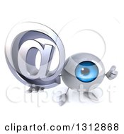 Clipart Of A 3d Blue Eyeball Character Holding Up A Thumb And An Email Arobase At Symbol Royalty Free Illustration