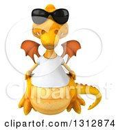 Clipart Of A 3d Casual Yellow Dragon Wearing A T Shirt And Sunglasses Royalty Free Illustration