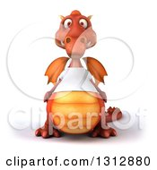Clipart Of A 3d Casual Red Dragon Wearing A T Shirt Royalty Free Illustration