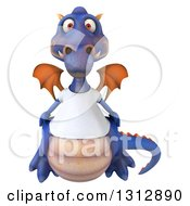 Clipart Of A 3d Casual Purple Dragon Wearing A T Shirt Royalty Free Illustration