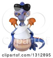 Clipart Of A 3d Casual Purple Dragon Wearing A T Shirt And Sunglasses Royalty Free Illustration