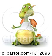 Clipart Of A 3d Casual Green Dragon Wearing A T Shirt Presenting To The Left Royalty Free Illustration