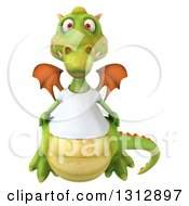 Clipart Of A 3d Casual Green Dragon Wearing A T Shirt Royalty Free Illustration
