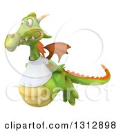 Clipart Of A 3d Casual Green Dragon Wearing A T Shirt Flying To The Left Royalty Free Illustration