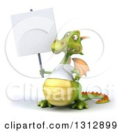 Clipart Of A 3d Casual Green Dragon Wearing A T Shirt Holding A Blank Sign Royalty Free Illustration