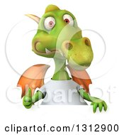 Clipart Of A 3d Casual Green Dragon Wearing A T Shirt Giving A Thumb Up Over A Sign Royalty Free Illustration