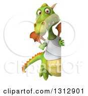Clipart Of A 3d Full Length Casual Green Dragon Wearing A T Shirt Pointing Around A Sign Royalty Free Illustration