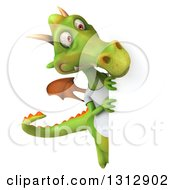 Clipart Of A 3d Casual Green Dragon Wearing A T Shirt Looking Around A Sign Royalty Free Illustration