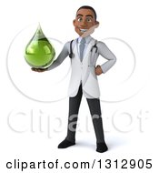 Clipart Of A 3d Young Black Male Naturopathic Doctor Holding A Green Medicine Or Tincture Drop Royalty Free Illustration by Julos