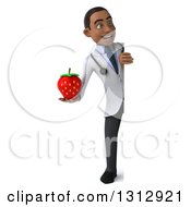 Clipart Of A 3d Full Length Young Black Male Nutritionist Doctor Holding A Strawberry Around A Sign Royalty Free Illustration