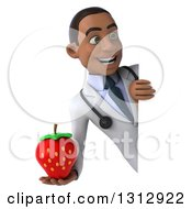 Clipart Of A 3d Young Black Male Nutritionist Doctor Holding A Strawberry Around A Sign Royalty Free Illustration