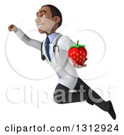Clipart Of A 3d Young Black Male Nutritionist Doctor Flying Up To The Left And Holding A Strawberry Royalty Free Illustration