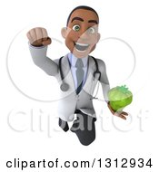 Clipart Of A 3d Young Black Male Nutritionist Doctor Flying And Holding A Green Bell Pepper Royalty Free Illustration