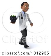 Clipart Of A 3d Young Black Male Nutritionist Doctor Walking To The Right And Holding A Blackberry Royalty Free Illustration
