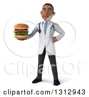 Clipart Of A 3d Unhappy Young Black Male Nutritionist Doctor Holding A Double Cheeseburger Royalty Free Illustration