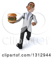 Clipart Of A 3d Unhappy Young Black Male Nutritionist Doctor Speed Walking And Holding A Double Cheeseburger Royalty Free Illustration