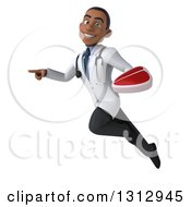 Clipart Of A 3d Young Black Male Nutritionist Doctor Flying Pointing And Holding A Beef Steak Royalty Free Illustration