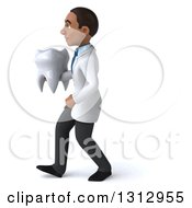 Clipart Of A 3d Young Black Male Dentist Walking To The Left And Holding A Giant Tooth Royalty Free Illustration by Julos