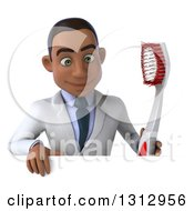 Clipart Of A 3d Young Black Male Dentist Holding A Giant Toothbrush And Looking Down Over A Sign Royalty Free Illustration