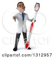 Clipart Of A 3d Young Black Male Dentist Holding A Thumb Down And A Giant Toothbrush Royalty Free Illustration