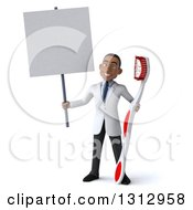 Clipart Of A 3d Young Black Male Dentist Holding A Giant Toothbrush And Blank Sign Royalty Free Illustration