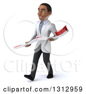 Clipart Of A 3d Young Black Male Dentist Walking Slightly To The Left And Holding A Giant Toothbrush Royalty Free Illustration