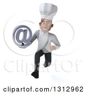 Clipart Of A 3d Young Black Male Chef Sprinting And Holding An Email Arobase At Symbol Royalty Free Illustration