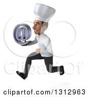 Clipart Of A 3d Young Black Male Chef Sprinting To The Left And Holding An Email Arobase At Symbol Royalty Free Illustration