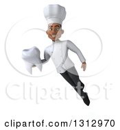 Clipart Of A 3d Young Black Male Super Chef Holding A Tooth And Floating Royalty Free Illustration by Julos