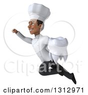 Clipart Of A 3d Young Black Male Super Chef Holding A Tooth And Flying Up To The Left Royalty Free Illustration by Julos