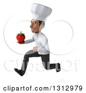 Clipart Of A 3d Young Black Male Chef Sprinting To The Left And Holding A Strawberry Royalty Free Illustration
