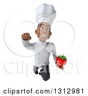 Clipart Of A 3d Young Black Male Chef Holding A Strawberry And Flying Royalty Free Illustration