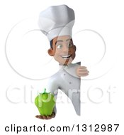 Clipart Of A 3d Young Black Male Chef Holding A Green Bell Pepper Around A Sign Royalty Free Illustration