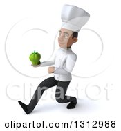 Clipart Of A 3d Young Black Male Chef Holding A Green Bell Pepper And Speed Walking To The Left Royalty Free Illustration
